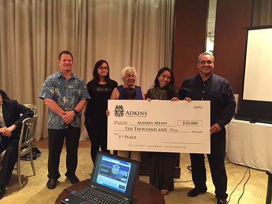 Freshman, Audrey Meno of Guam Community College takes the top prize in the 2016 Research Project Contest.