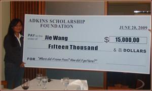 Jie Wang with $15,000 Scholarship Award